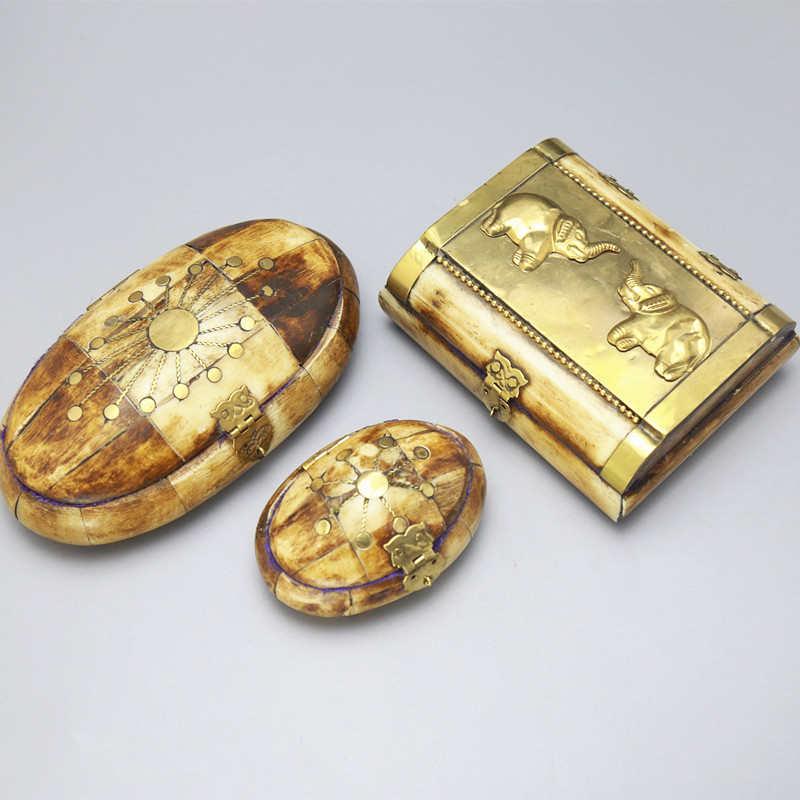 TJB929 Tibet Handicrafted Yak Bone Antiqued Jewelry Box Small And Big