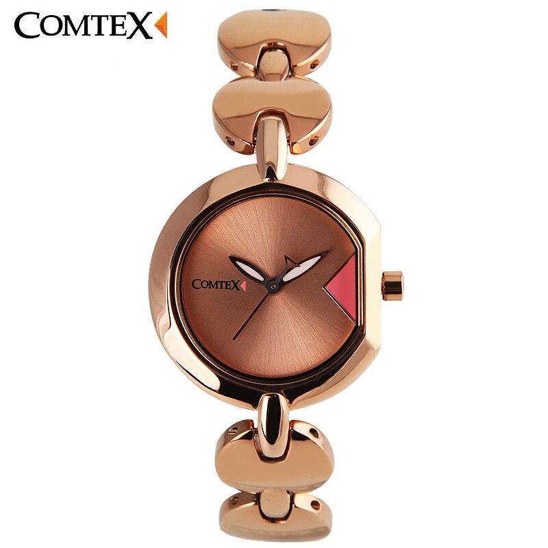 COMTEX Women Watches Brand Luxury Quartz watch Stainless Steel Clock Glod Ladies Wristwatch Fashion Casual Watch Montre Femme