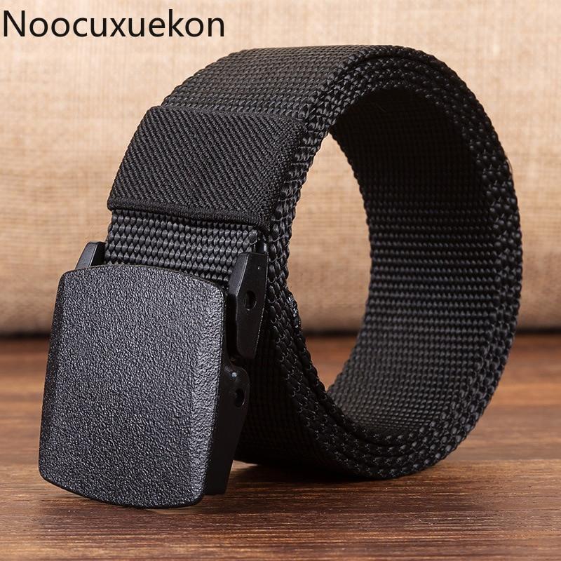 Honesty High Quality Canva Men's Belt No Metal Plastic Buckle Canvas Belts Casual Jeans Belt Designer Men High Quality Cinturones Hombre