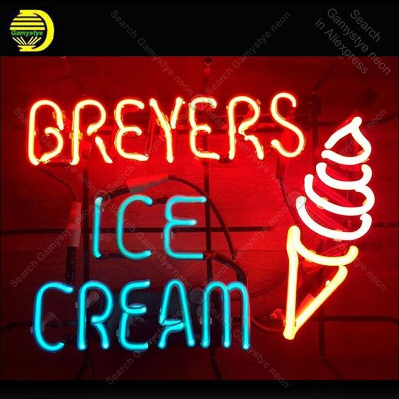 Enseigne au néon pour BREYERS crème glacée publicité néon Tube signe verre artisanat décor fenêtres Nean signe lumière lampe Letrero marque de commerce