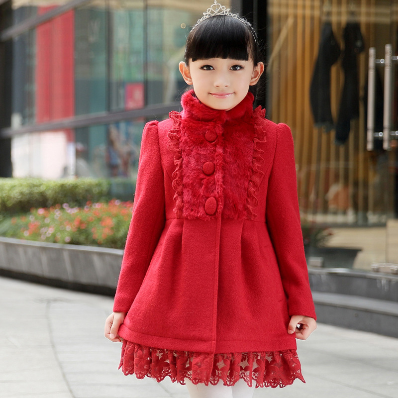 Children age 7-16 selling children stand collar wool coat thickened woollen overcoat freeshipping цена 2017