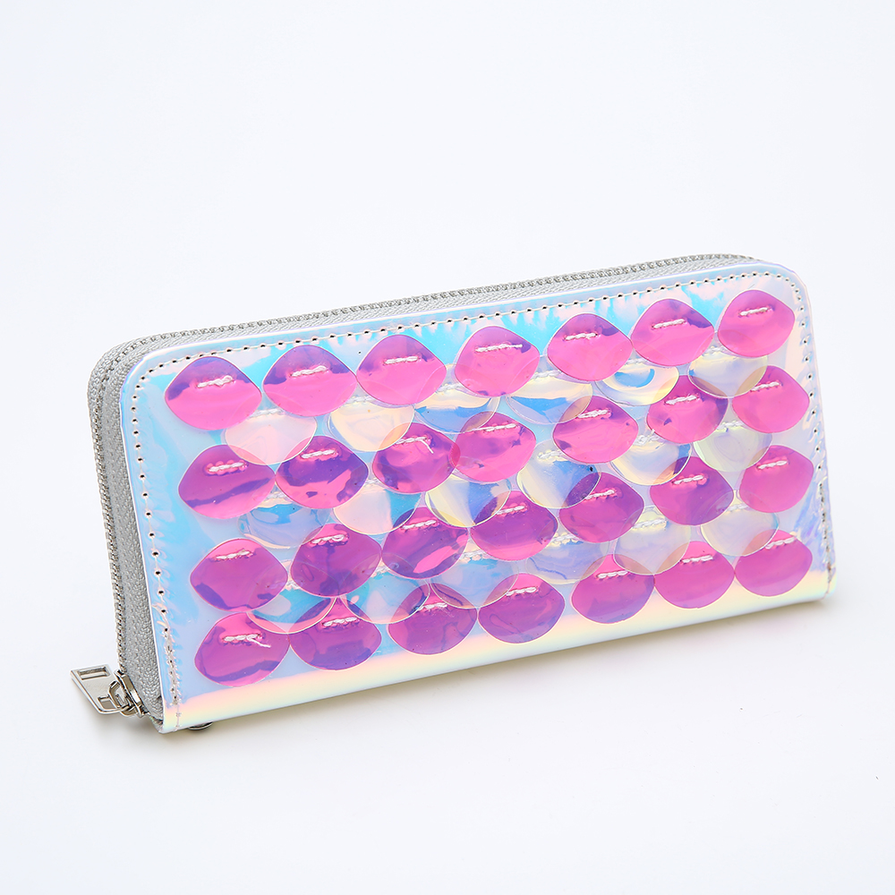 Mermaid Leather Women Long Wallet Fashion PU Clutch Wallet Hologram Bag Wristlets Female Purse Bank Card Holder Coin Purses in Wallets from Luggage Bags