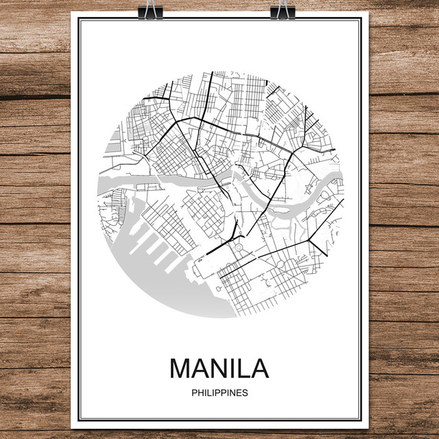 Manila philippines abstract world city street map print poster manila philippines abstract world city street map print poster coated paper cafe bar living room home gumiabroncs Images