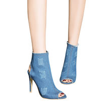 summer boots woman 2018 Super High Heel Ankle Hollow Peep Toe Denim Zipper Boots Shoes#NFA(China)