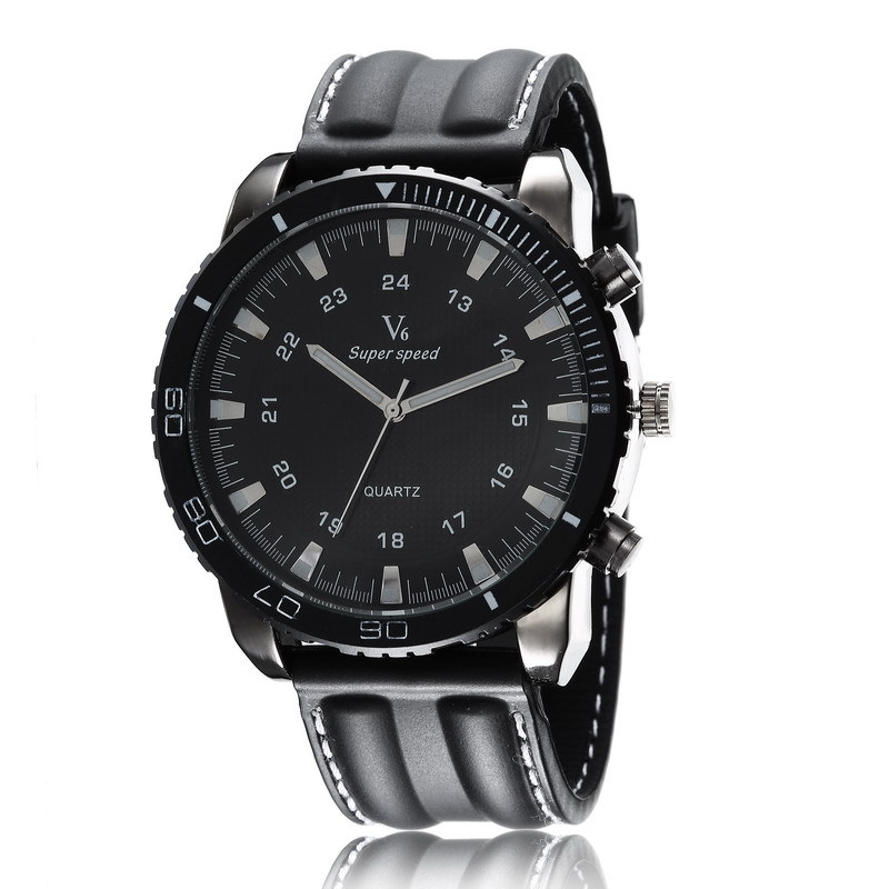 Fashion Mens Sports Watches V6 Quartz Wristwatch Analog Men'sTop Brand Luxury Large Dial Silicone Strap Relogio Masculino Gifts