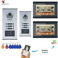 7 ''сенсорный экран wifi видео дверной телефон IP видеодомофон для строительства система контроля доступа поддержка ID карта приложение управле