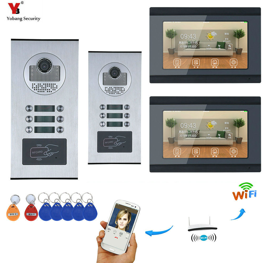 7'' Touch Screen WIFI Video Door Phone IP Video Intercom For Building Access Control System Support ID Card APP Control