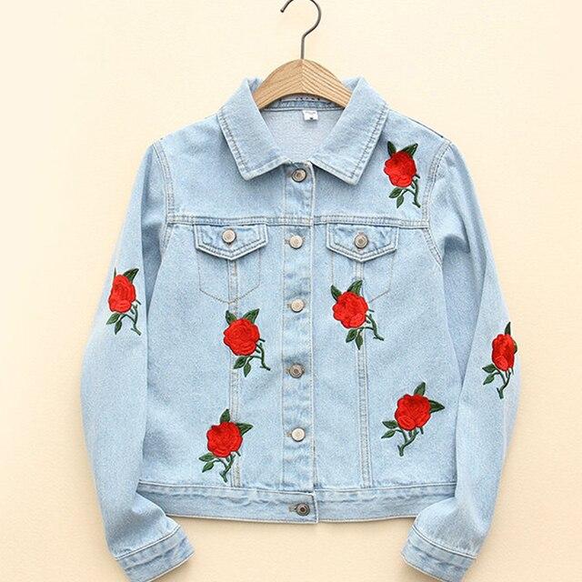 Осень Vogue Роуз Вышивки Синий Джинсовая Куртка С Длинным Рукавом Нагрудные Вымытые Женщин Основные Пальто Плюс Размер весте ан жан WWWM70