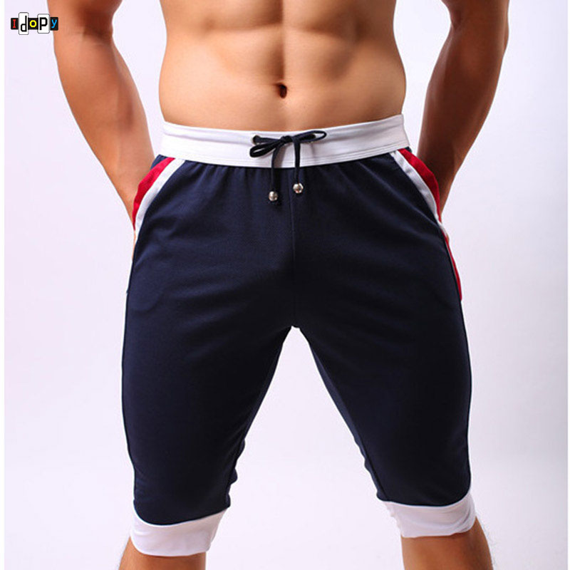 Summer Men`s Beach Shorts Brand Trunks Sexy Breathable Drawstring Pouch Sexy Three Quarter Sportswear For Male