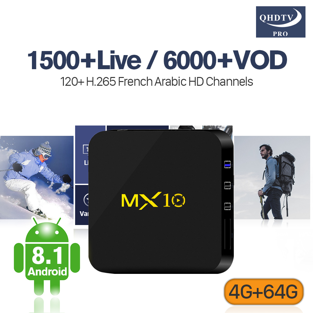 MX10 Android 8.1 Smart France TV Box RK3328 Octa Core 4G/64G Wifi 4K MX10 QHDTV PRO Code Arabic French Belgium Holland IPTV belgium culture smart
