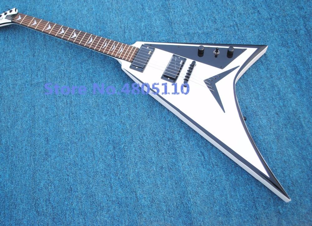 Firehawk usine vend Jackson blanc queue d'aronde profilé guitare électrique personnalisé édition noir garniture chrome plaqué montage fiying v