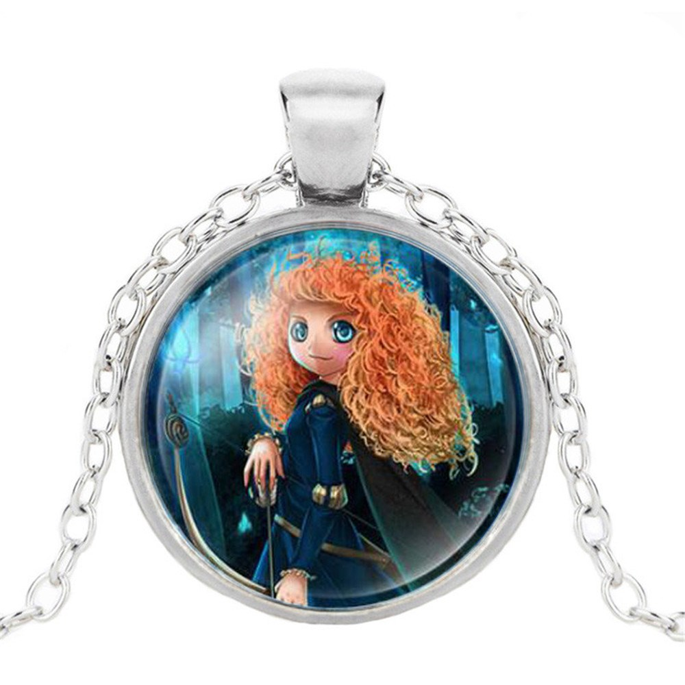 Новая мода популярное женское ожерелье Кристалл ювелирные изделия выпуклая круглая Принцесса Подвеска Ожерелье Девушка - Окраска металла: 15