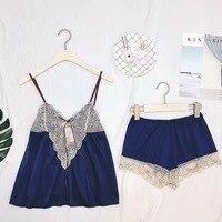 السيدات مثير منامة النساء أزياء الصيف يلة أكمام ثياب النوم الحرير منامة الدانتيل ملابس نوم سلسلة الإناث
