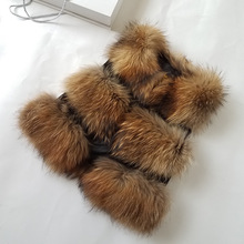 Women Full Pelt Raccoon Dog Fur Vest 2019 New Fashion Real Short Coat Ladies Waistcoat Jacket 6 Colors Autumn Winter S-XL