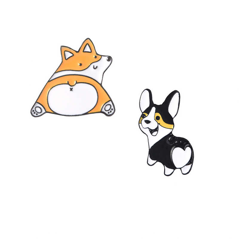 Cute Cartoon Corgi del Metallo Dello Smalto Spilla Amore Cane Culo Distintivo Spille Fascino Unico Del Costume Alla Moda Accessori Dei Monili del Regalo