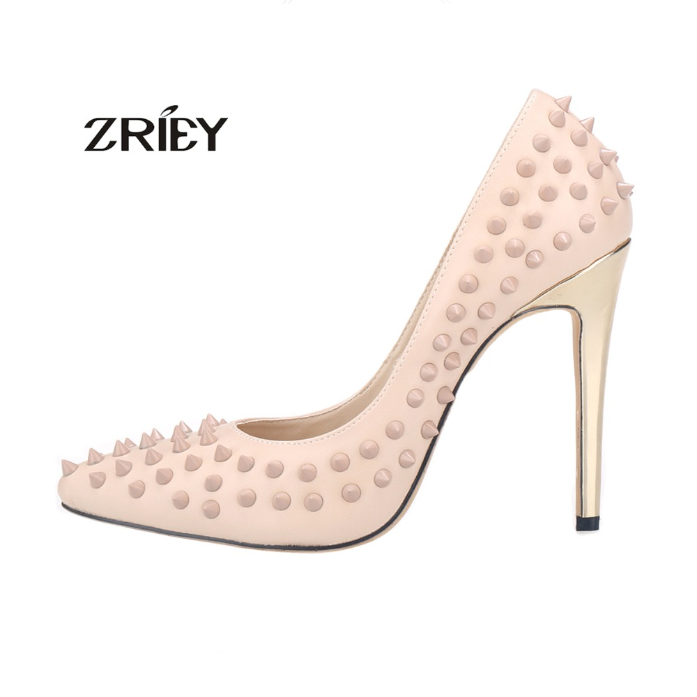 2016 New Brand Women Gold Heel Pumps Ladies Sexy Pointed Toe Fashion Studded Rivets High Heel Shoes Pumps size 35-42 new 2017 spring summer women shoes pointed toe high quality brand fashion womens flats ladies plus size 41 sweet flock t179