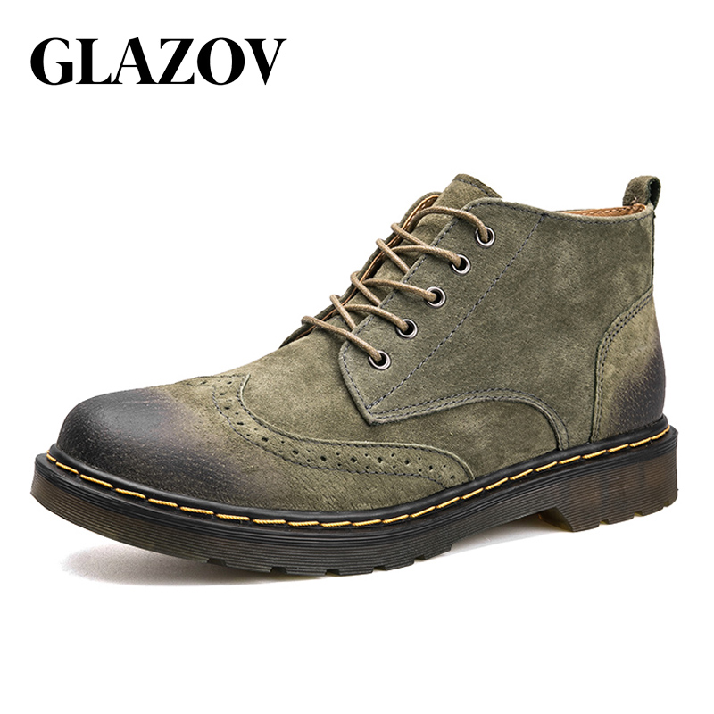 GLAZOV Brand Genuine Leather Men Boots Autumn Winter Ankle Boots Fashion Footwear Suede Shoes Men High Quality Vintage Men Shoes autumn winter men shoes vintage design fashion genuine leather ankle boots
