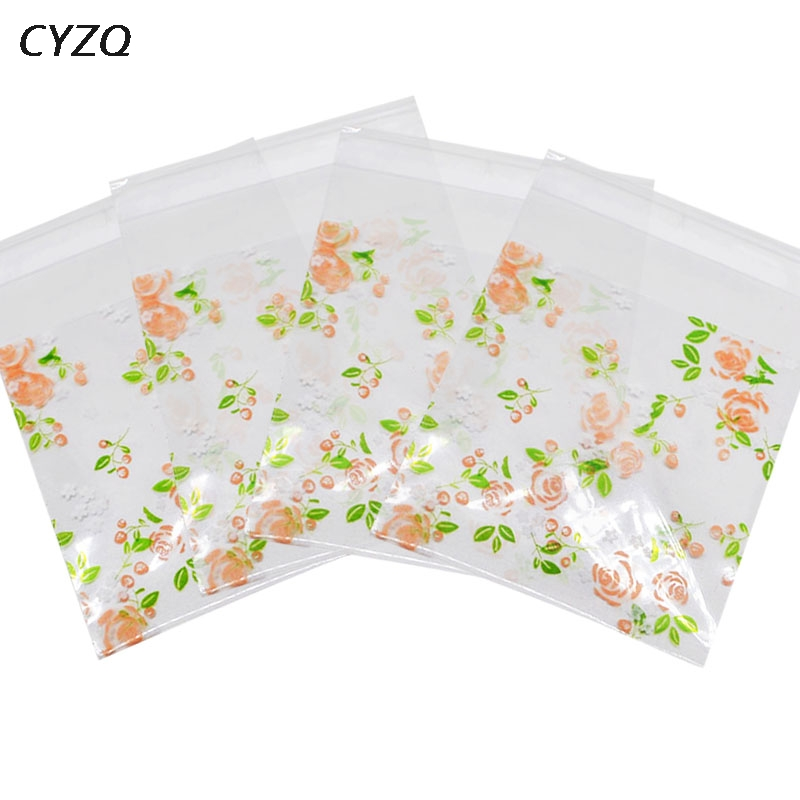 500/100Pcs Rose Flowers Candy Cookie Bags Wedding Party Gift Bag DIY Craft Self Adhesive Plastic Biscuit Baking Packaging Bag