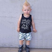 Summer Baby Boys Sleeveless Letter Print Tops Blouse Vest+Shorts Children Casual Outfits Sets