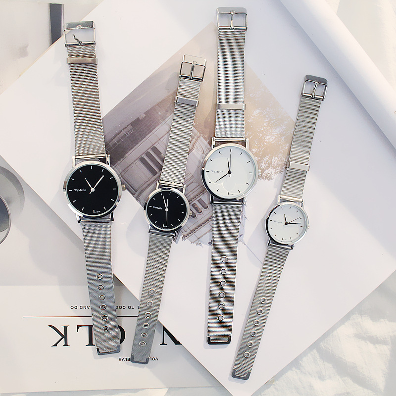 Simple Lover's Watch Silver Thin Mesh Strap Fashion Casual Women Quartz Wristwatch Men Reloj Mujer Relogio Masculino Pair Clock