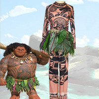 Movie Marine Wonders Princess Moana Cosplay Costume for Adult Moana Maui Costume for Men Women Party Halloween Costumes