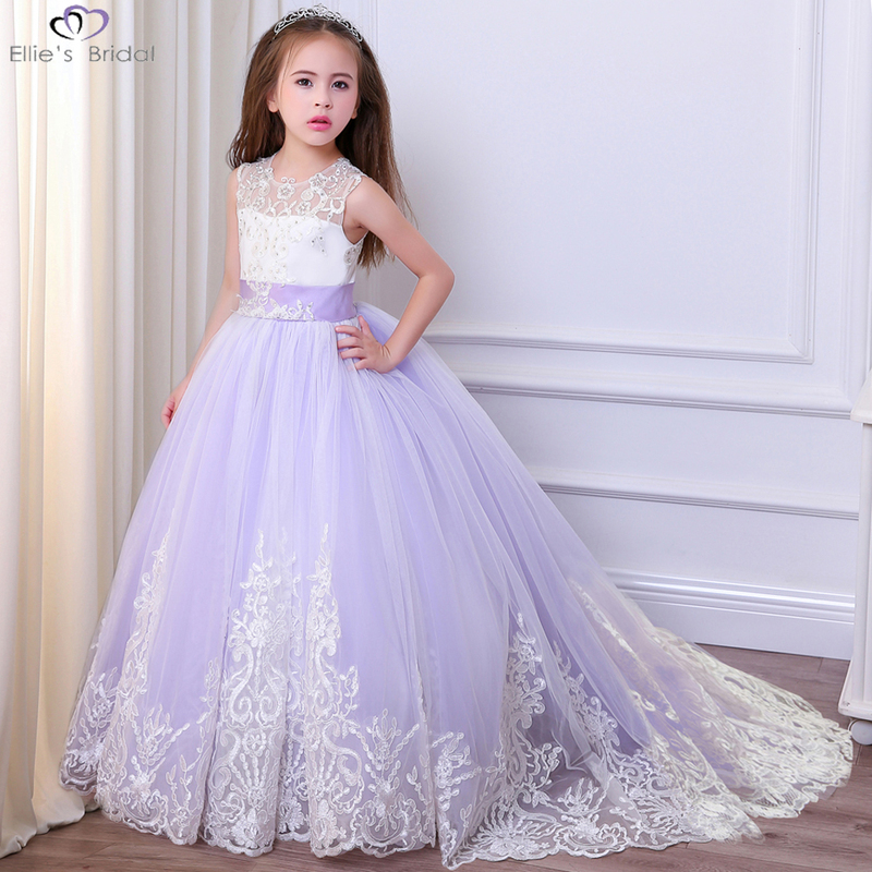 Ellies Bridal 2018 Fancy Girl Lace Dress with Bow Bown Down Tutu Dress Party Dress for Girls Princess Dress Children Clothes deni bown encyclopedia of herbs