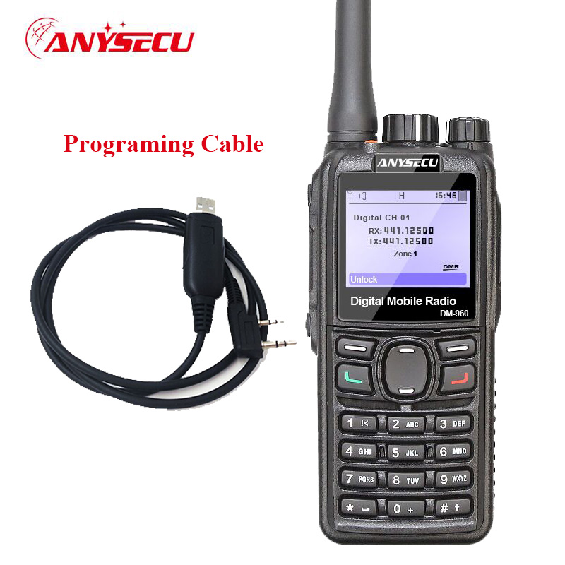 Anysecu DMR Walkie Talkie DM-960 TDMA Ham Radio DM960 VHF UHF With GPS Dual Slot Times Compatible With MOTOTRBO With USB Cable