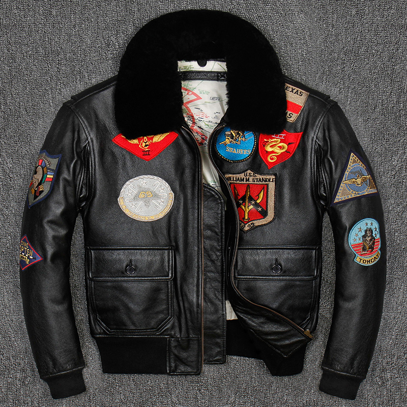 G1 Men Top Gun Leather Pilot Jacket Plus Size Wool Collar Cowhide American Army Leather Pilot Coat