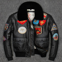 G1 Men Top Gun Leather Pilot Jacket Plus Size Wool Collar Cowhide American Army Leather Pilot Coat