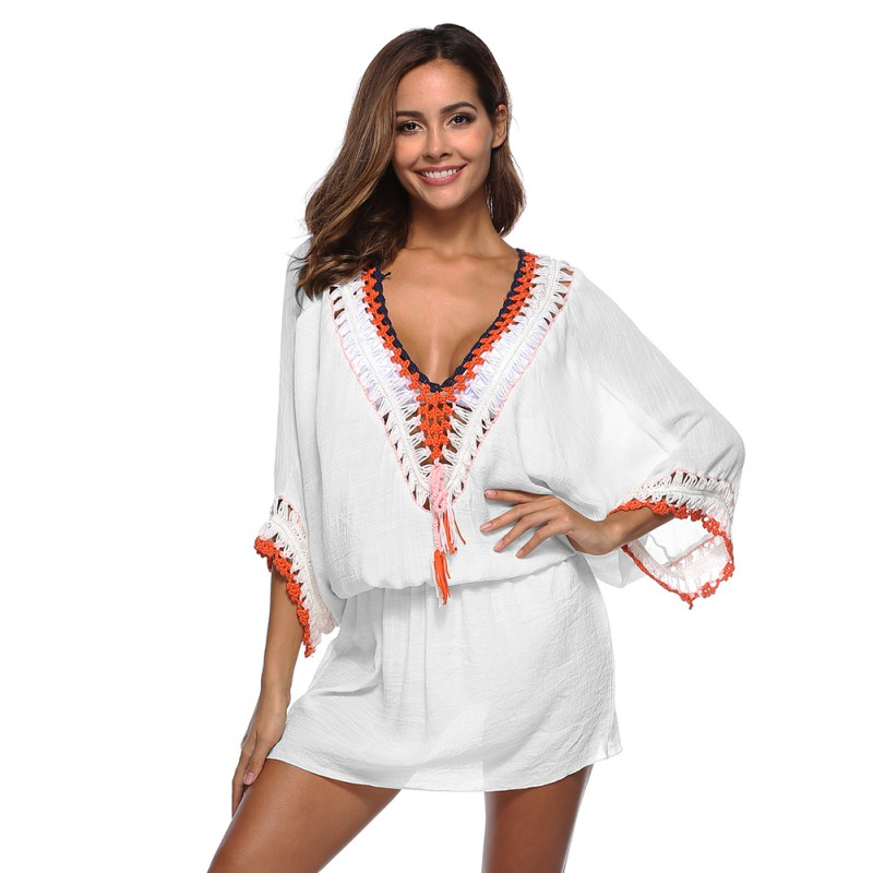 45706541c3ef Sexy Crochet Lace V neck Tunic Summer Dress Women Beach Mini Dresses  Breathable Airy Comortable Sundress Female Vestidos-in Dresses from Women s  Clothing on ...