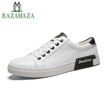 863185ae1 RAZAMAZA hombres Vulcanzied zapatos moda hombres blanco zapatillas carta  Vulcanzied zapatos de los hombres de moda juventud calzado tamaño 38- 44