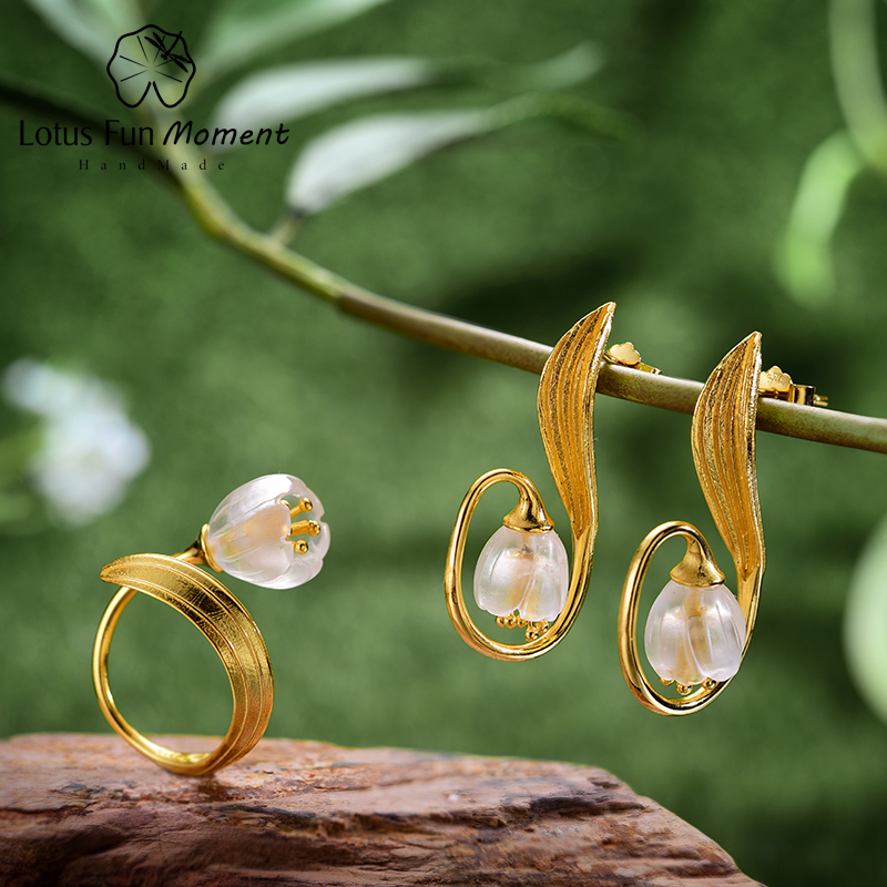 Lotus Fun Moment Real 925 Sterling Silver Fashion Jewelry Natural Crystal Lily of the Valley Flower