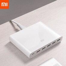 Original Xiaomi USB C 60W Charger Type C 6 พอร์ต USB QC 3.0 Quick Charge 18W X2 + 24W(5V = 2.4A MAX) สำหรับโทรศัพท์สมาร์ท
