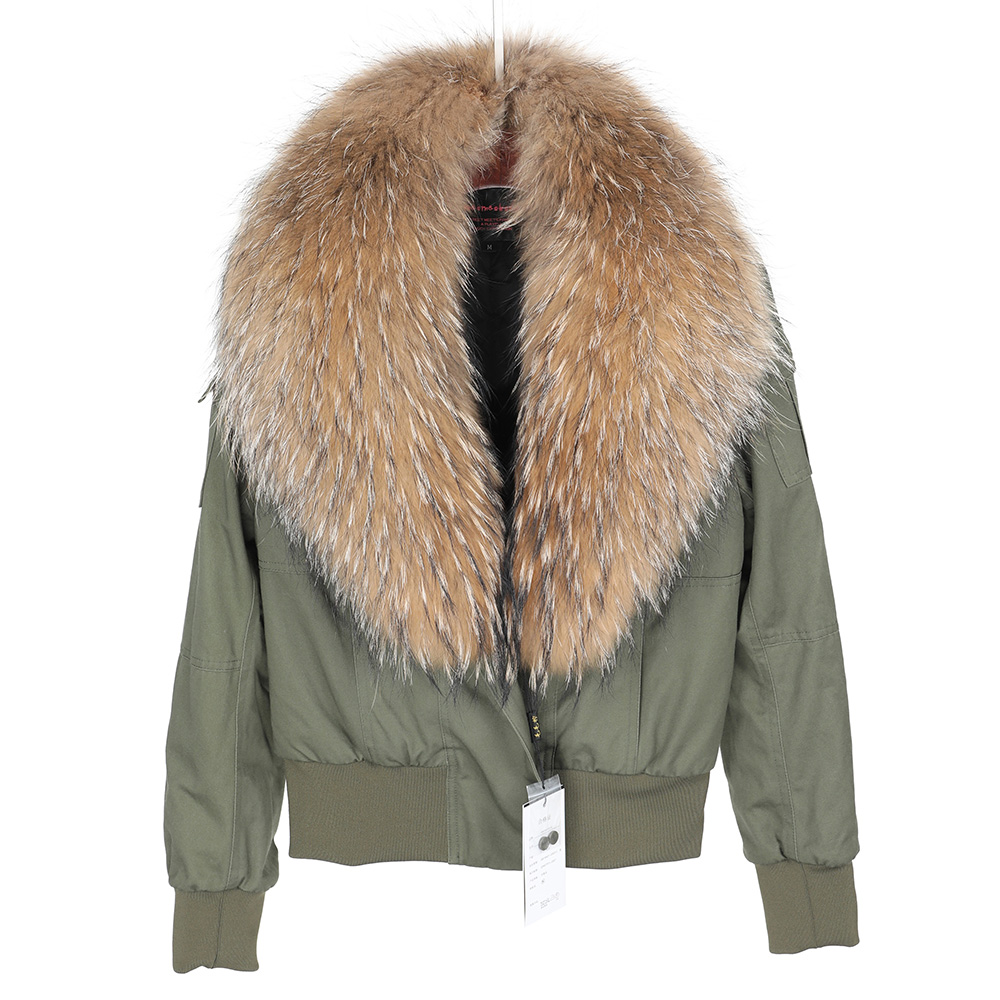 Maomaokong2018 new natural raccoon fur collar Jacket flight suit short coat Slim coat overcoming women