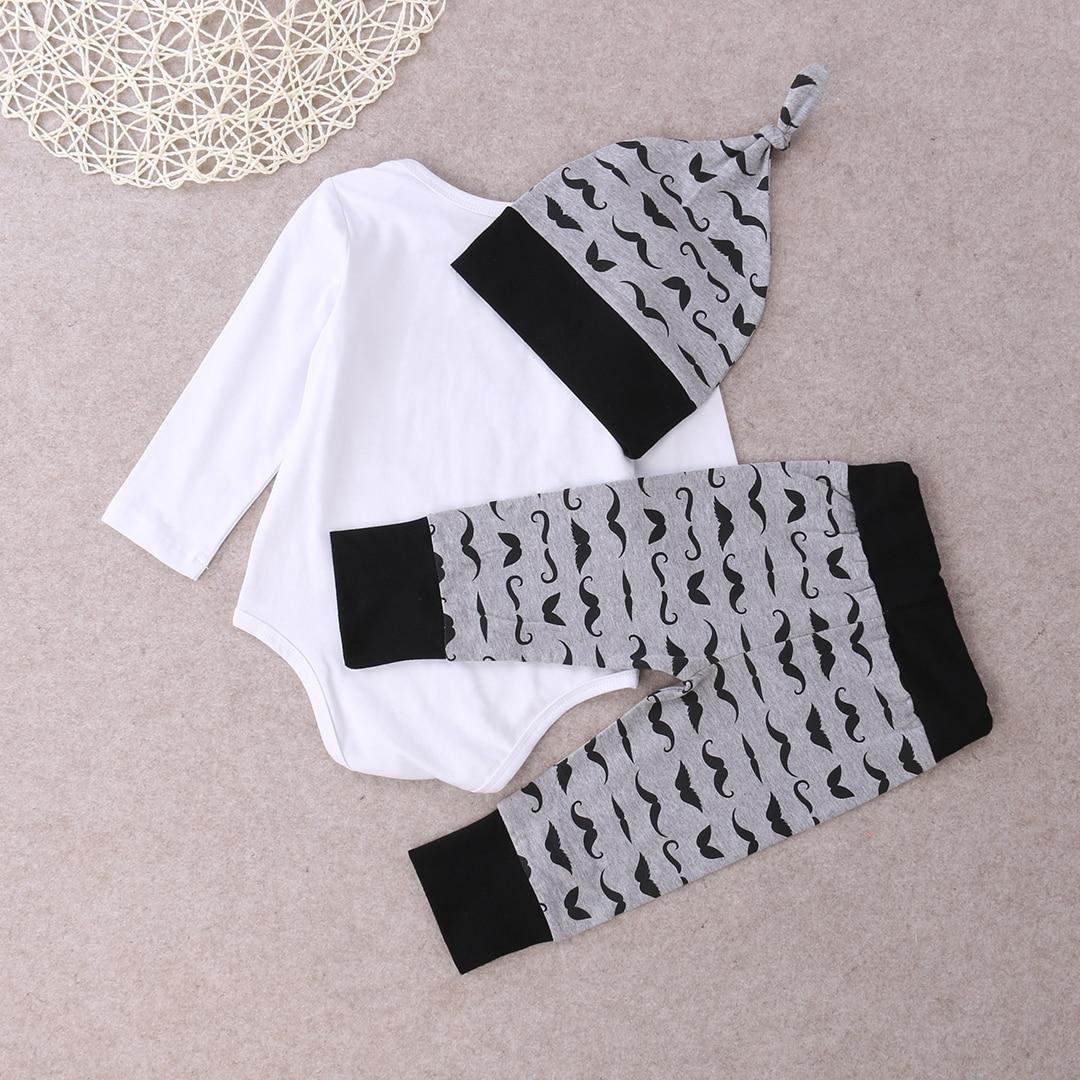 3 pcs Newborn Babies Boy Moustache Little Man Bodysuit Top Pants Leggings Hat Outfits Clothing Set 0 18M 2019 in Clothing Sets from Mother Kids