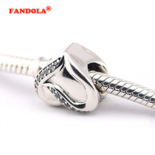 fbeee344b Fit Pandora Bracelet Ribbon of Love Charms with Clear CZ 100% Original 925  Sterling Silver