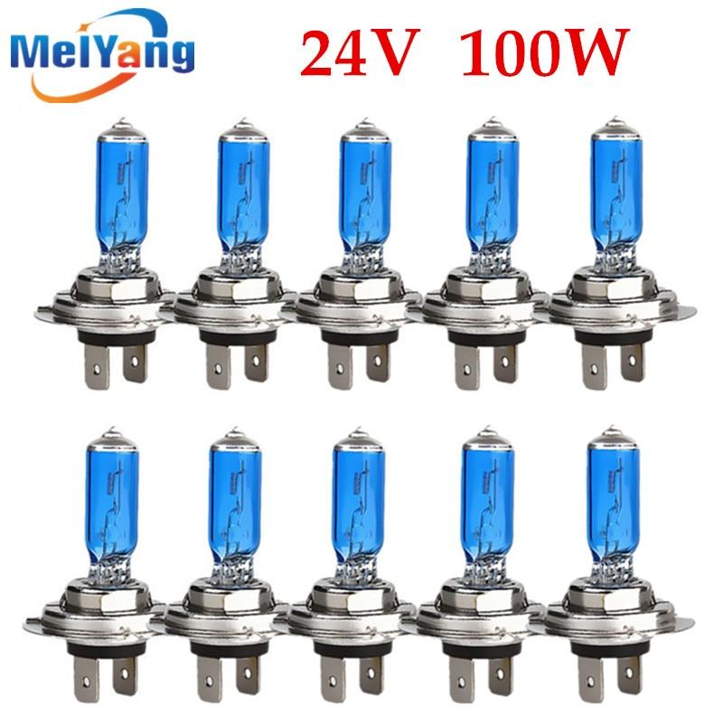 10pcs 24V H7 100W Halogen Bulb Super Bright Fog Lights High Power Car Headlight Lamp Car Light Source Parking White