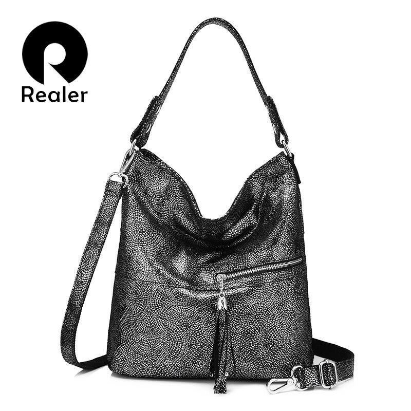 Realer 여성을위한 정품 가죽 핸드백 디자이너 어깨 가방 tassels와 고품질 여성 crossbody 메신저 가방-에서숄더 백부터 수화물 & 가방 의  그룹 1