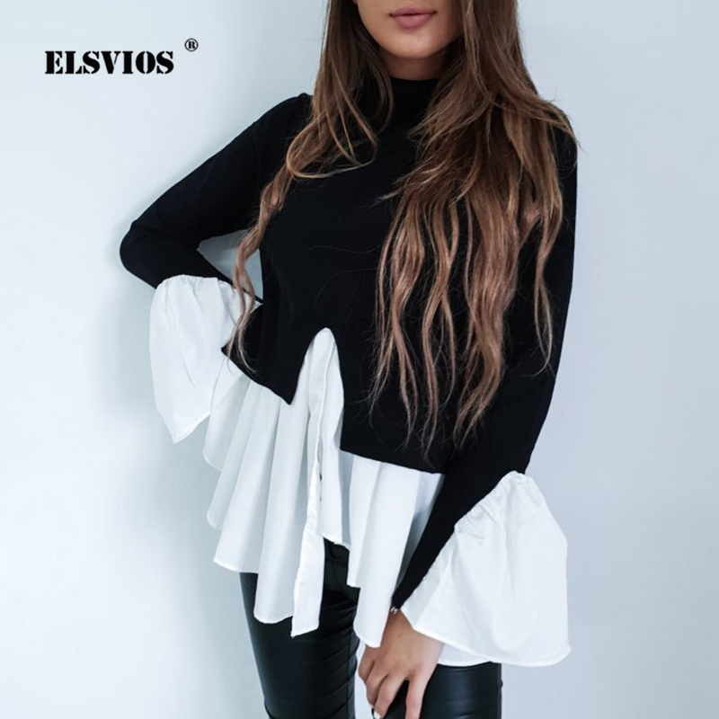 ELSVIOS Kawaii Ruffles Women Tops Autumn Turtleneck Patchwork Irregular Pullover Casual Split Flare Sleeve Work OL Shirts Blouse(China)
