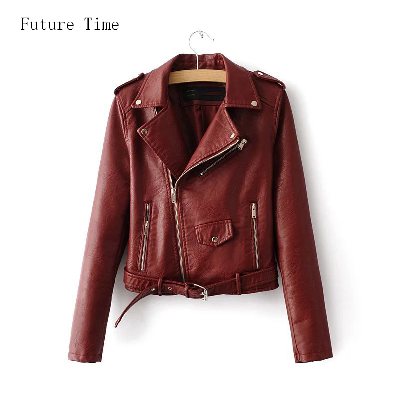 New women PU leather   jacket   coat female turn-down collar long sleeve short   jacket   spring casual   basic     jackets   zippers YF219
