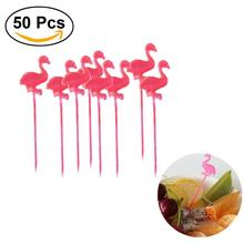 50 Pieces Red Flamingo Food Picks Buffet Cupcake Fruit Fork Party Cake Dessert Salad Vegetable Sticks Cocktail Toothpick Skewer
