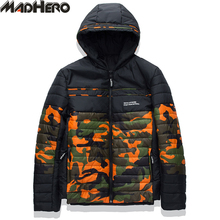 MADHERO Camouflage Parka Men Good Quality Hooded Thick Windproof Men's Winter Jacket Keep Warm Coat With Inside Pocket