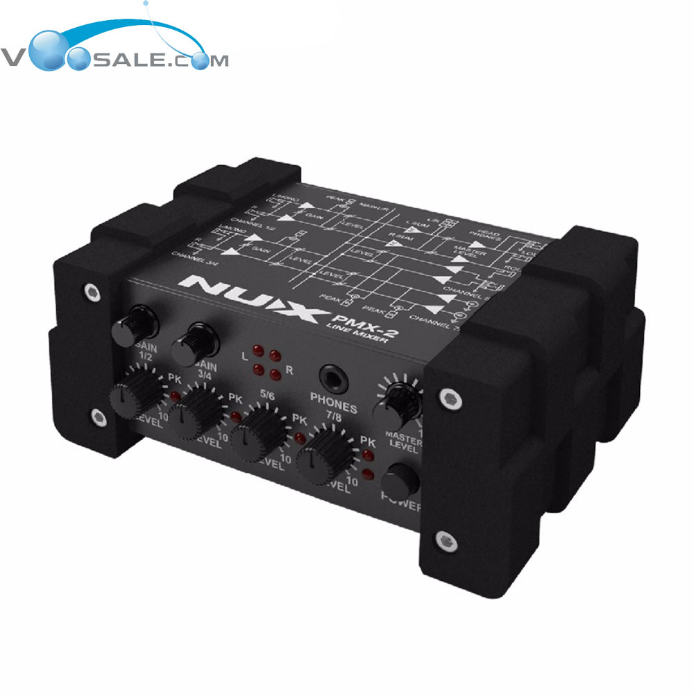 NUX PMX-2 Electric Guitar Bass Multi Channel Amplifier Mini Mixer 8 Inputs And 2 Outputs Fit Several Audio Devices nux pmx 2 new multi channel line mixer overload indicator 8 in 2 out mixer fit several audio devices for electric guitar bass