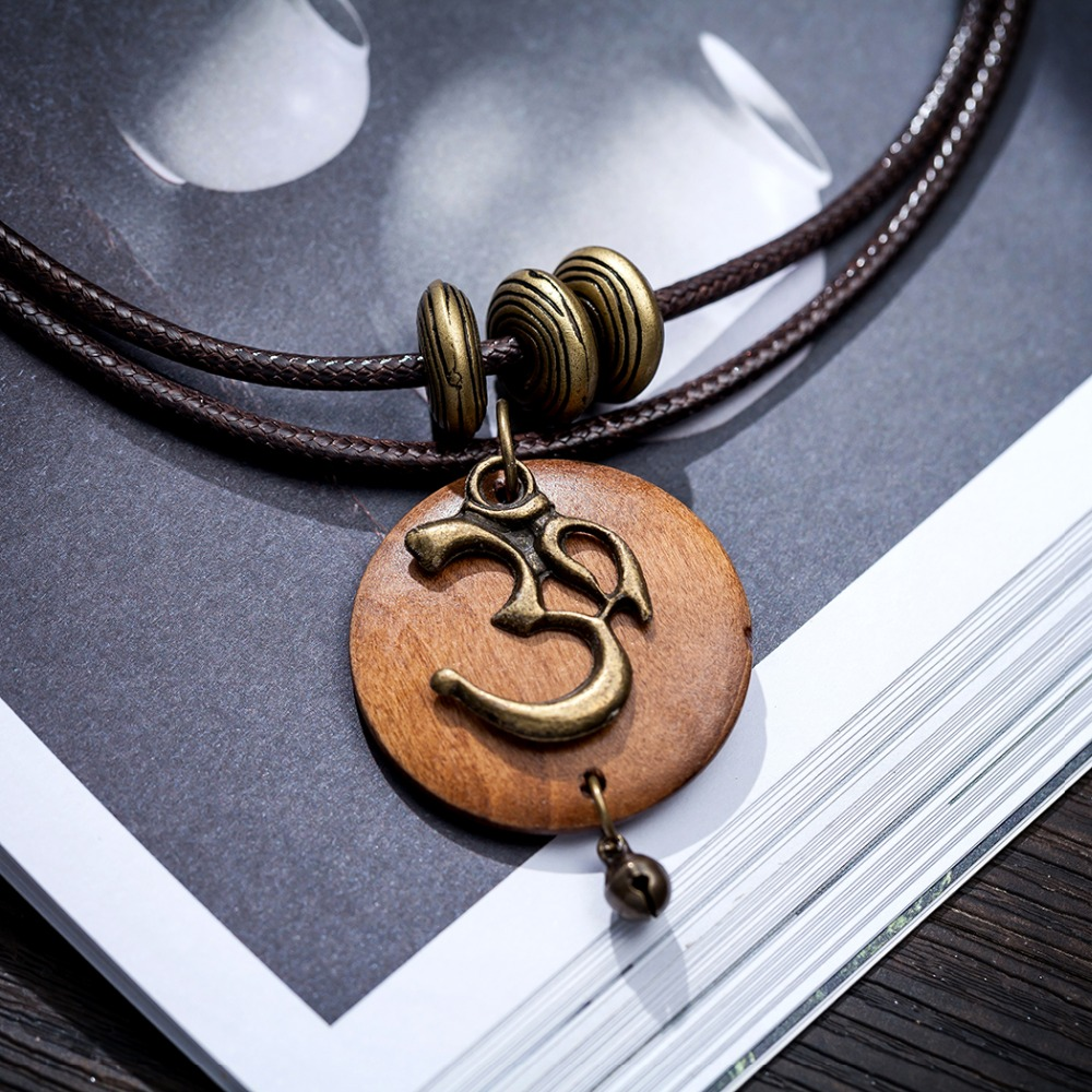 Women's OM Charm Wooden Necklace 3