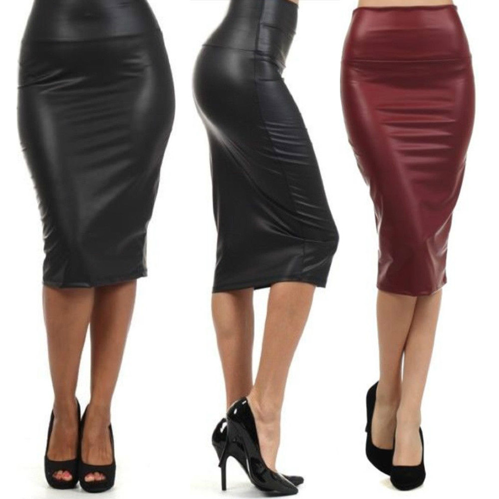 free shipping plus size high waist faux leather pencil