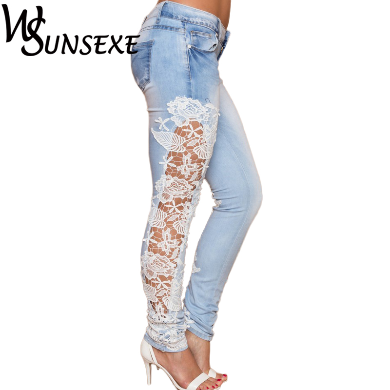 Fashion Women Jeans Lace Floral Splice High Waist Jeans Sexy Hollow Out Skinny Casual Trousers Women's Denim Plus Size Pencil наушники philips she3900gd