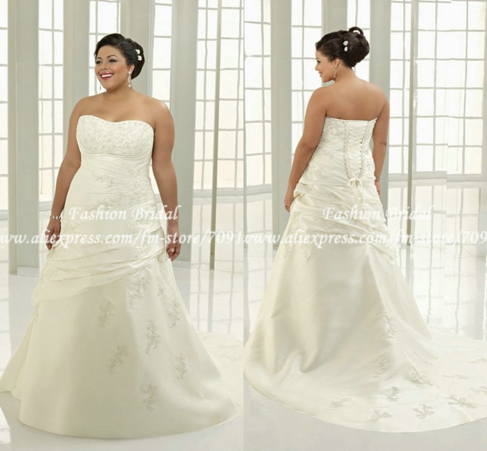 TWD077 New Design Sweetheart Applique Ivory Plus Size Bridal ...