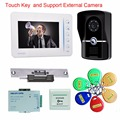 "7"" TFT Touch Key External camera wired  Video Door Phone Doorbell Intercom Monitor Electric Strike Lock RFID Keyfobs"