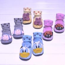 Baby Cotton Socks Autumn Winter Kid s Indoor Floor Socks With Bells Leather Sole Non Slip