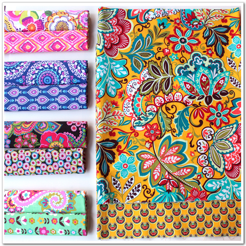 Delicate 50CM*50CM Fasion Flower 100% cotton Fabric Quilting Clothes Home Textile Bedding Sewing Doll Cloth DIY A